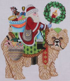 Brenda Stofft Designs Santa on Grizzly Bear 104 Hand Painted Needlepoint Canvas   eBay