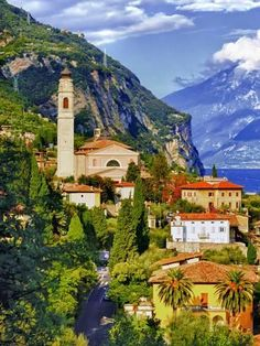 Photographic Print: The Parish Church in the Village of Limone on Lake Garda, Italy by Richard Duval : Places Around The World, Around The Worlds, Wonderful Places, Beautiful Places, Photos Black And White, Places To Travel, Places To Visit, Lake Garda Italy, Nature Landscape