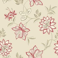 Lexie Red Floral Wallpaper Part 64