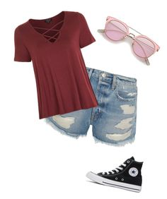"""""""Since it's officially SUMMER"""" by jennamaeve3 on Polyvore featuring Frame, Topshop and Converse"""