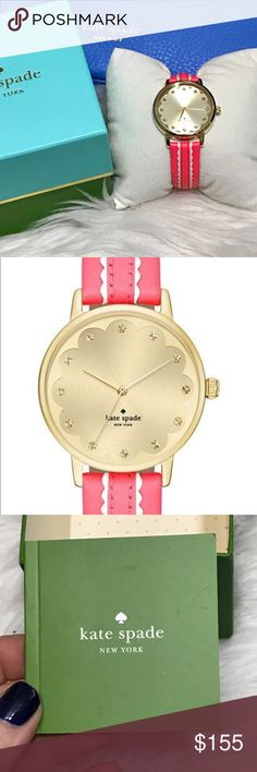 "♥️BOGO♥️Scalloped Metro gold/pink coral watch This watch is so adorable!  Bright pink coral and white scalloped leather band with buckle closure. Brushed gold inner face with shiny gold outer. Tonal crystals act as the numbers. Gold plated stainless steel. Measures 9"" end to end. Watch face measures 1.25"" across. kate spade Accessories Watches"