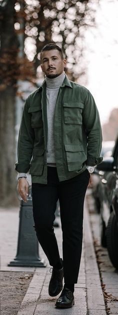 - with a fall combo idea with a gray turtleneck green button up shirt black trousers silver watch wrist accessories black socks black dress shoes Geek Fashion, Boy Fashion, Black Dress Shoes, Black Socks, Green Button, Black Trousers, Field Jacket, Outfit Combinations, Sandro