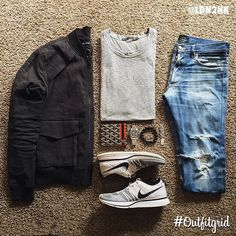 Black Linen Moto Jacket, Distressed Jeans, White Nikes, and Grey Tee, via outfitgrids on Instagram, Men's Spring Summer Fashion.