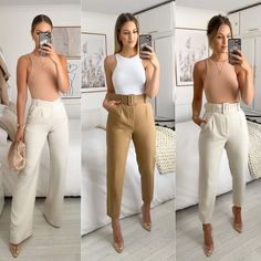 Business Casual Outfits For Women, Professional Outfits, Cute Casual Outfits, Chic Outfits, Fashion Outfits, Casual Interview Outfits, Casual Going Out Outfit Night, Brown Pants Outfit For Work, Work Outfits For Women