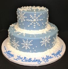 Winter Snowflake Cake - I think these kinds of dots were what she was thinking of . . .  But maybe not the snowflakes...  No clue really