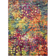 Unique Loom Abstract Barcelona Multi-Colored 7' x 10' Area Rug