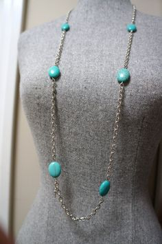 Long Silver and Turquoise Layering Necklace Made in by Links & Locks, $20.00