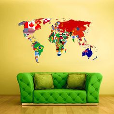 Full Color Wall Decal Mural Sticker Decor Art World Map Banners Flag Countries Paintings (col347) on Etsy, $39.99