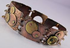 copper cuff bracelets, segmented with jump rings