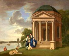 Garrick's Temple by Johan Zoffany, 1762.  As a Shakespearean actor, Garrick desired to commemorate the playwright with a temple in his honor. Located on the north bank of the Thames in Hampton, London on what was once land adjoining Garrick's villa, it's the only known tribute devoted entirely to Shakespeare.[LifeTakesLemons]
