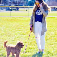 """We took Ruby to the park yesterday so of course I had to wear my super soft cozy @goldendoodlegoods tee! They sell all kinds of dog breeds tees and other cute things! Check them out & use code """"Rubyroo"""" to save 15% See more photos of our day in the park on CarolinaBstyle.com & be sure to check back tonight for a GIVEAWAY! #ootd #goldendoodlegoods #goldendoodle #whatiwore #spring #todayslook by brittanyanncourtney"""