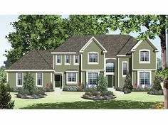New American House Plan with 3079 Square Feet and 4 Bedrooms from Dream Home Source   House Plan Code DHSW65433