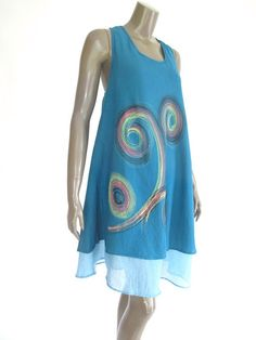 Teal Blue Short sleeveless Cotton Women Dress with by NaniFashion, $44.00