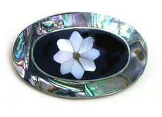 Abalone Brooch inlaid shell brooch blue flower by LizonesJewelry, $7.99