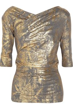metallic wrapped jersey top