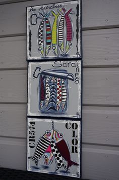 Tableau sardines peinture colorée moderne personnalisable