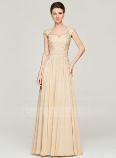 A-Line/Princess V-neck Floor-Length Zipper Up Cap Straps Sleeveless No 2015 Champagne Spring Summer Fall General Plus Chiffon Lace Mother of the Bride Dress