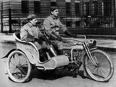 Wicker made sidecar. Before crash testing and safety regulations!