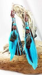 """Item E370 6"""" Turquoise painted deer skin leather fringe earrings, turquoise feathers, copper and glass beads, turquoise nuggets; Bright copper hooks $25.00"""