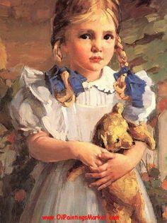 Bessie Wessel - Girl With Teddy Bear (detail) - Oil paintings ... oilpaintingsmarket.