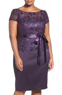 Main Image - Adrianna Papell Sequin Lace & Mikado Sheath Dress (Plus Size) African Wear Dresses, Latest African Fashion Dresses, Women's Fashion Dresses, Plus Size Formal Dresses, Elegant Dresses, Different Dresses, Lace Dress Styles, Stylish Work Outfits, Classy Dress