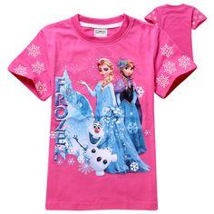 New Frozen Girls Cartoon T Shirt Cute Anna Elsa Pattern Short Sleeve C – My Cyber Shopping