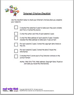 Internet Citation Checklist for Students ~ Educational Technology and Mobile Learning