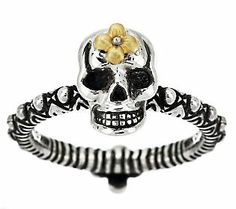 Product image of Barbara Bixby Sterling & 18K Carved Skull Stack Ring