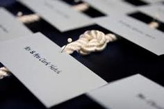 Inspiration: Nautical Theme- escort cards instead of a pin, maybe tie the knot through the placecard Vintage Nautical Wedding, Nautical Theme, Nautical Rope, Wedding Places, Our Wedding, Wedding Decor, Wedding Stuff, Dream Wedding, Wedding Blue