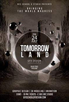 "GFX SCHOOL & STUDIO OF DESIGN ONLINE. Graphic Design project  ""GFX SCHOOL AND STUDIO OF DESIGN TOMORROWLAND VS. TOMORROWWORLD POSTER CONCEPT"" for 2015 student work compilation."
