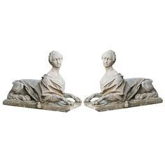 Pair of Composite Stone Sphinxes | From a unique collection of antique and modern garden ornaments at http://www.1stdibs.com/furniture/building-garden/garden-ornaments/