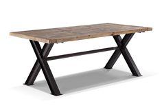 Table de salle à manger industrielle en métal et bois
