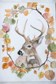 Maison rustique Decor Deer aquarelle Art à par TheWoodedTrail