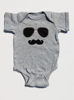 Mustache Onesie With Sunglasses Applique Baby Boy Tee For Little Man on Etsy, $21.00