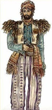 Traditional Armenian costume from the region of Muş (to the west of Lake Van). Late 19th century.