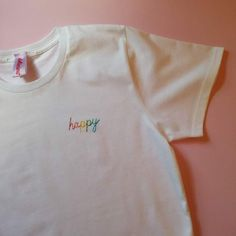 DeliciousMonsterTea :: Happy Rainbow Hand Embroidered T-ShirtYou can find Diy t shirts and more on our website.DeliciousMonsterTea :: Happy Rainbow Hand Embroidered T-Shirt Broderie Simple, T-shirt Broderie, Embroidery On Clothes, Embroidered Clothes, T Shirt Embroidery, Diy Clothing, Custom Clothes, Clothes Refashion, T Shirt Diy