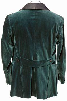 Vintage Green Velvet Smoking Jacket // Black Silk Shawl Collar late 19th or early 20th century (back)