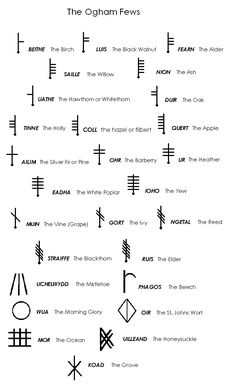 The Ogham Fews also known as tree runes or Druidic runes are a wonderful tool to use to help sentient beings heal make decisions grow handle problems transform energies and evolve. Celtic Symbols And Meanings, Rune Symbols, Magic Symbols, Viking Symbols, Ancient Symbols, Egyptian Symbols, Viking Runes, Celtic Meaning, Glyphs Symbols