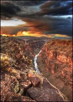 Rio Grande Gorge Bridge 2 by kimjew on DeviantArt Rio Grande Gorge, How To Make Pickles, Bodega Bay, Skull Artwork, Yellow Accents, Work Inspiration, Artists Like, New Mexico, Pin Collection