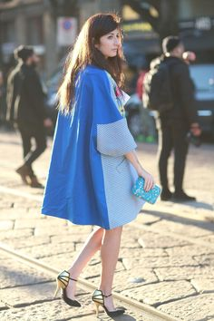 Valentina Siragusa's cape is like something out of a fashion fairy tale.  #MFW