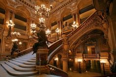 Interior of the Paris Opera House (Palais Garnier), completed in 1875.