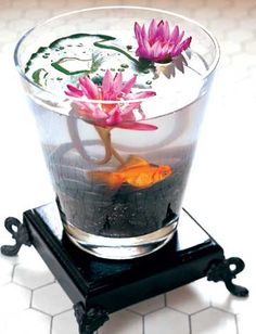 Water terrarium-love the lily and the goldfish!