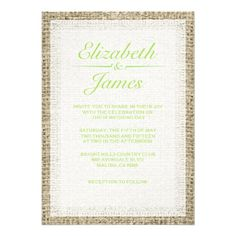Lime Green Vintage Burlap Wedding Invitations Personalized Announcements