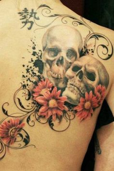 Skull Flower Tattoo #tattooideaslive #skull #flower #tattoo
