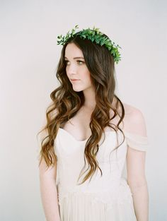 Greenery Leaf Bridal Crown by Love Sparkle Pretty http://lovesparklepretty.com/shop/abiliene. Photo by Mallory Dawn. Ivy Crown | Leaf Flower Crown | Ethereal Bridal Crown | Bridal Hairstyle
