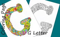 Letter G  Download Coloring Page Hand Drawn Zentangle Inspired The Alphabet Adult Coloring Page Art Relaxing Activity For Family Kıds