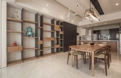 studio contemporain avec coin-repas et rangement