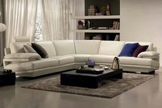 White Leather Sectional Natuzzi