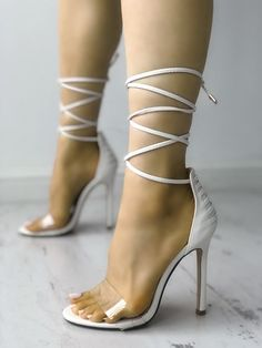 Shop Transparent Bandage Lace-up Thin Heeled Sandals right now, get great deals at joyshoetique Black Pumps Heels, Sexy Heels, High Heel Pumps, Stiletto Heels, Shoes Heels, Heeled Sandals, Shoes Sneakers, Womens Shoes Canada, Style Casual