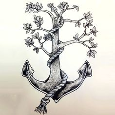 A creative tattoo of an anchor-tree for women. This tattoo represents life and loyalty.